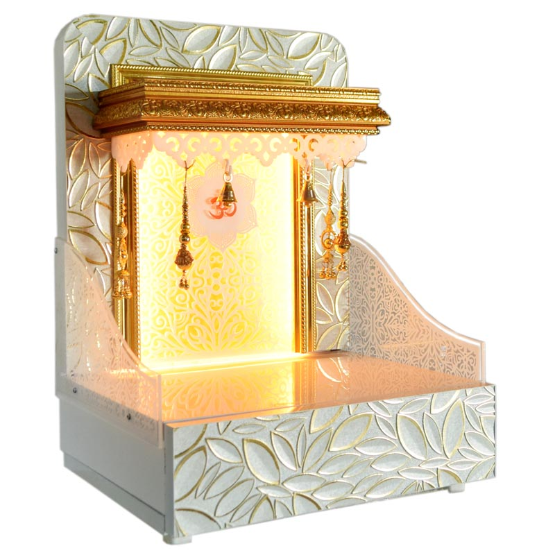 Decorative Wooden Mandir With Led Lights For Home And Offices