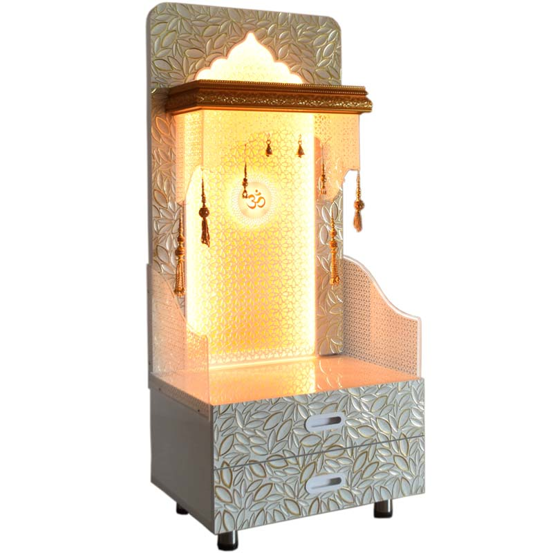 Designer Wooden Pooja Mandir For Home With Decoration And Lights