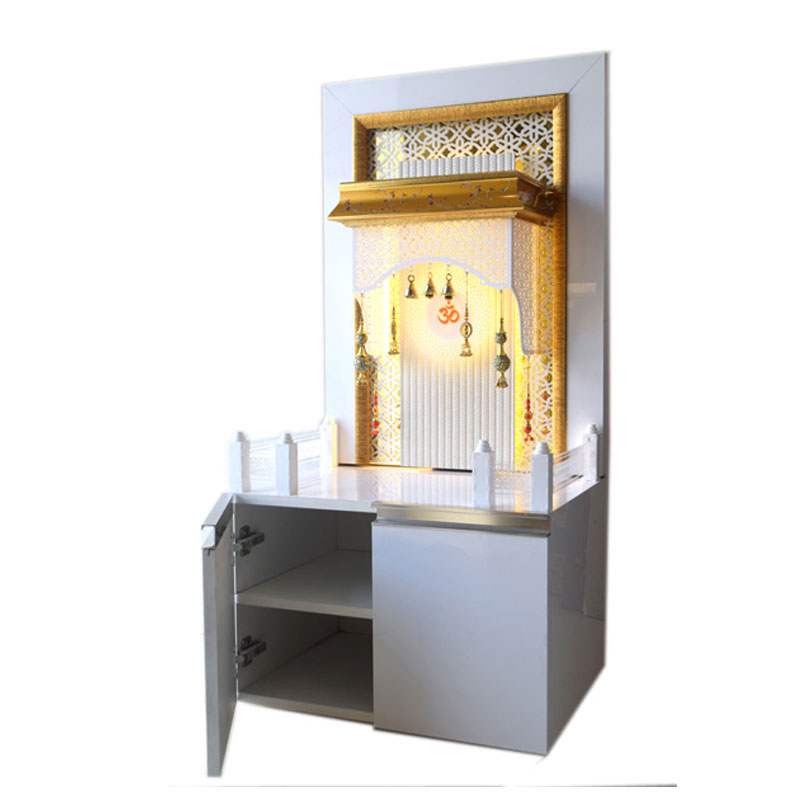 Designer Mandir for Home with cabinet storage space