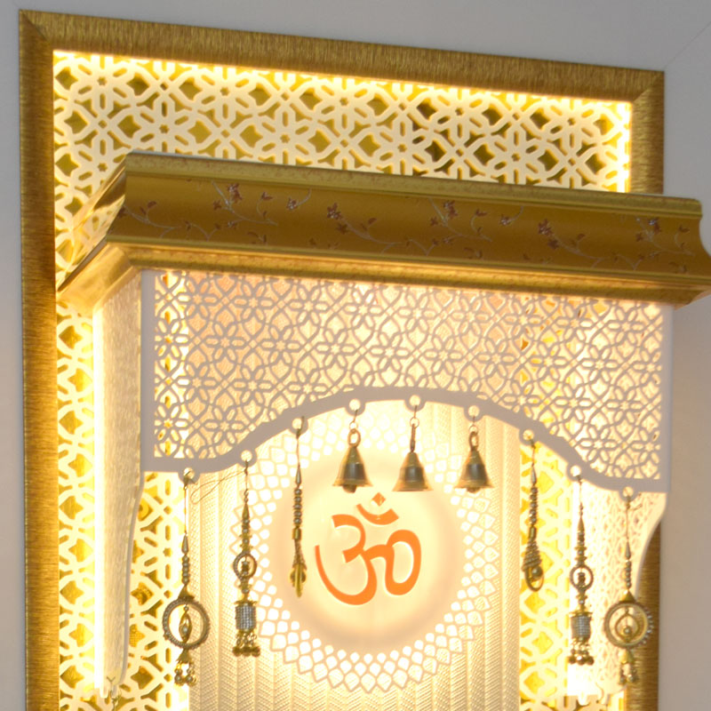Corian Mandir For Home With Cabinet Storage Space
