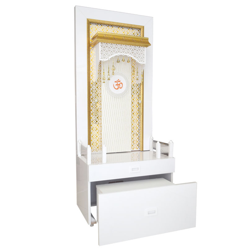 Designer Wooden Puja Mandir 6 FT With Storage & Stool