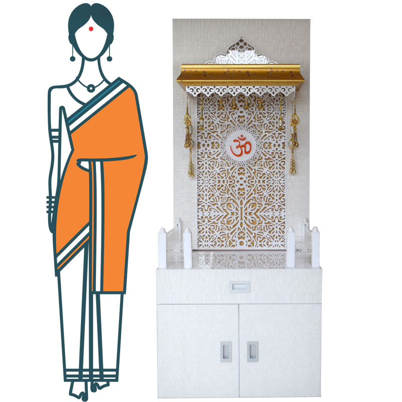 Wooden Mandir 5 Feet With Cabinet Storage