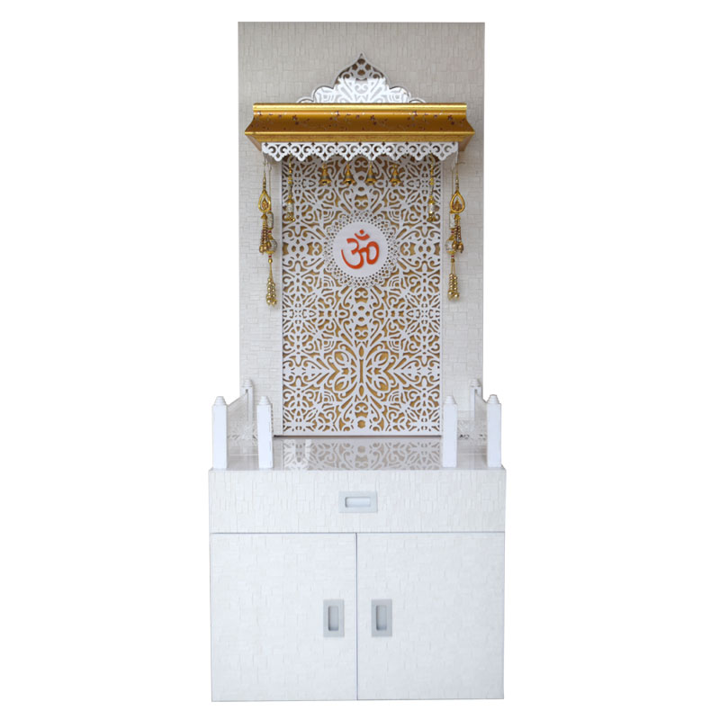 Wooden Mandir 5 Feet With Cabinet Storag...