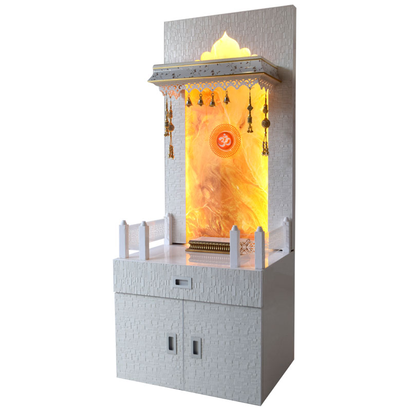 Designer Wooden Mandir 5 Ft Height With Onyx Design