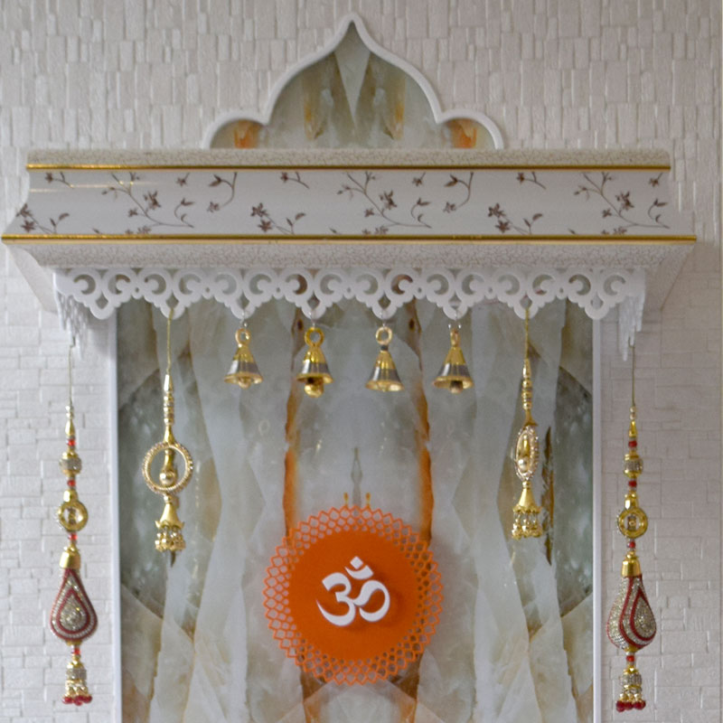 Latest Wooden Mandir 5 FT Height With Onyx Like Design