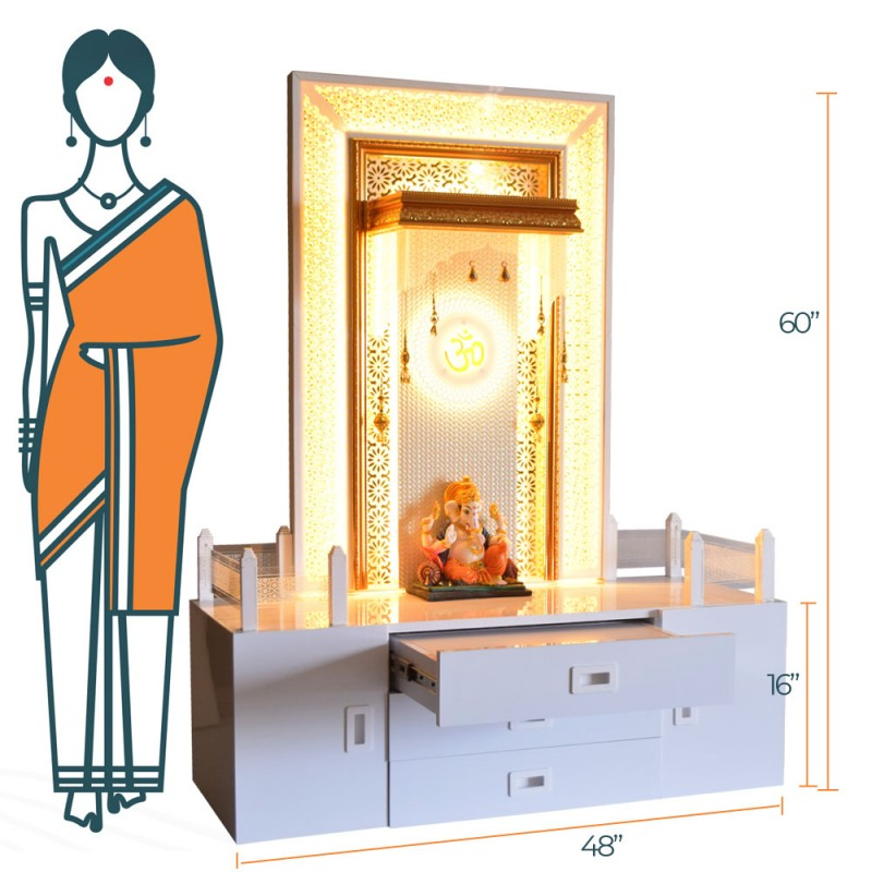 Decorative Home Temple with Extra Storage and LED Lighting
