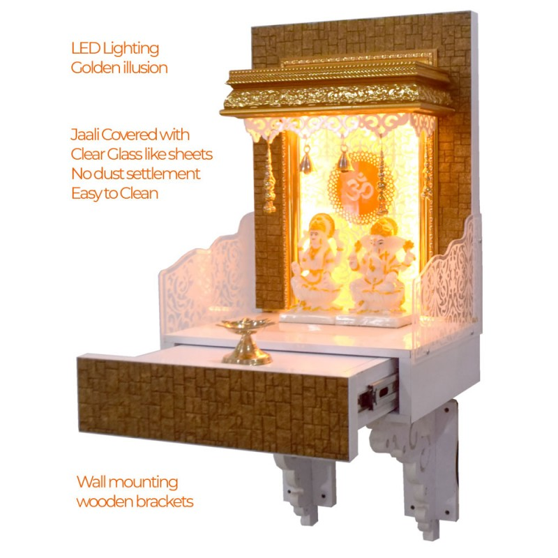 Elegant Designer Temple for Flats and Offices with LED Lights