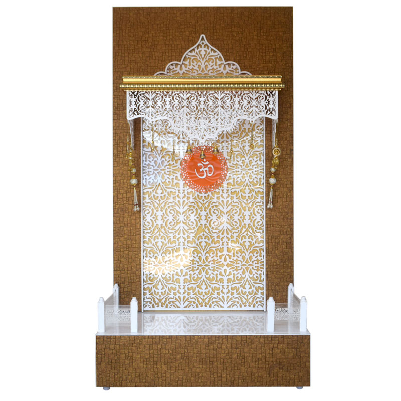 Designer Large Wooden Mandir for Home with base storage