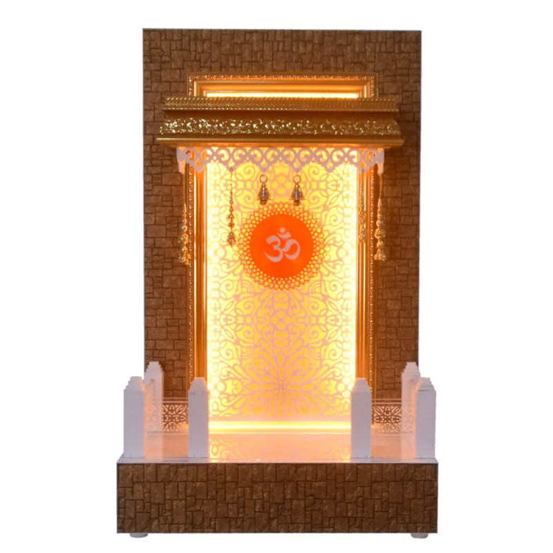 Wooden Pooja Mandir with LED Lights