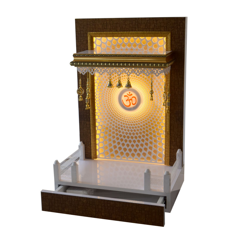 Designer Wooden Mandir 3 FT Height With Drawer