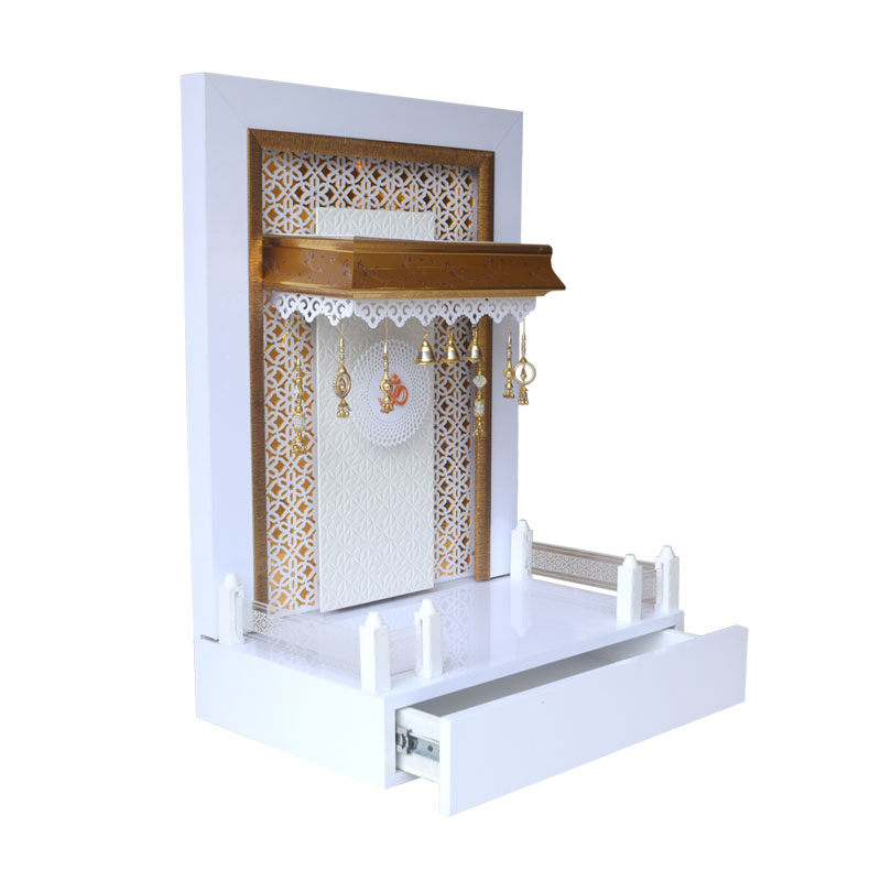 Wooden Mandir 3 FT Height with Drawer and Lights