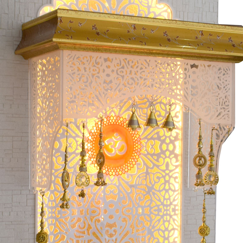 Designer Wooden Pooja Ghar 4 FT Height With Drawer