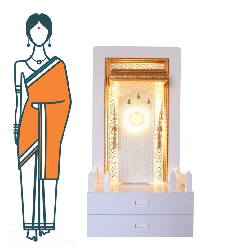 Decorative Home Temple with Double Drawer and LED Lights