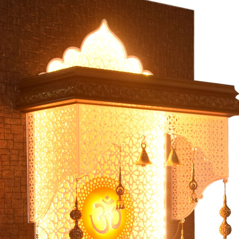 Designer Wooden Pooja Temple with Double Drawer and LED Lighting