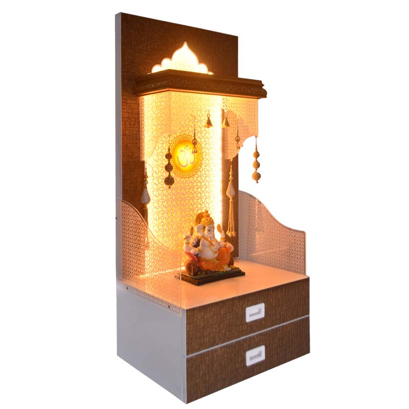 Designer Wooden Pooja Temple with Doubl...